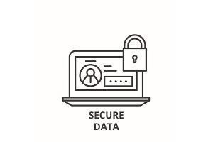 Secure data line icon concept