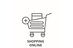 Shopping online line icon concept