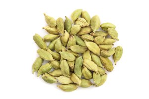 Green cardamom seeds isolated on