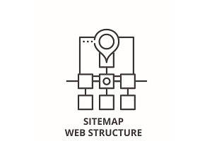 Sitemap web structure line icon