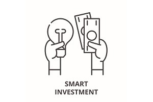 Smart investment line icon concept