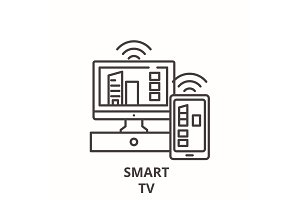 Smart tv line icon concept. Smart tv