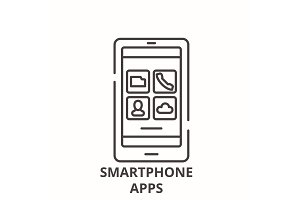 Smartphone apps line icon concept