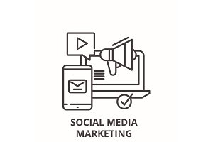 Social media marketing line icon