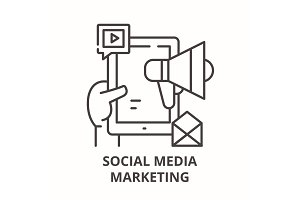 Social media marketing concept line