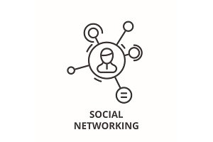 Social networking line icon concept