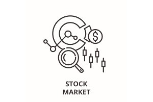 Stock market line icon concept