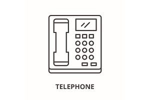 Telephone line icon concept