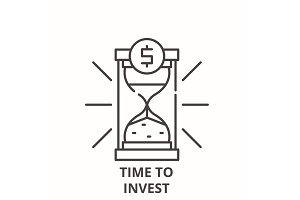 Time to invest line icon concept