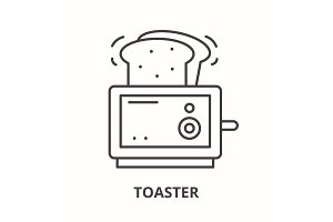 Toaster line icon concept. Toaster