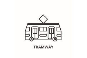 Tramway line icon concept. Tramway