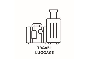 Travel luggage line icon concept