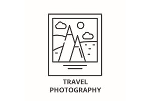 Travel photography line icon concept