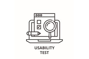 Usability test line icon concept
