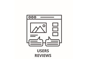 User reviews line icon concept. User
