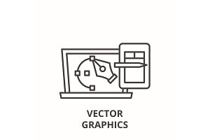 Vector graphics line icon concept