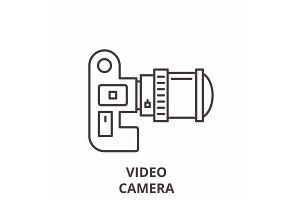 Video camera line icon concept