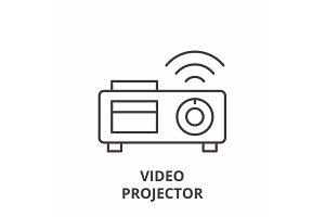Video projector line icon concept