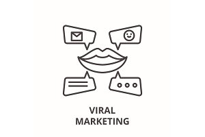 Viral marketing line icon concept