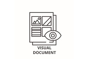 Visual document line icon concept