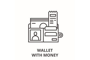 Wallet with money line icon concept