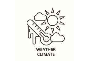 Weather climate line icon concept