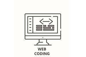 Web coding line icon concept. Web