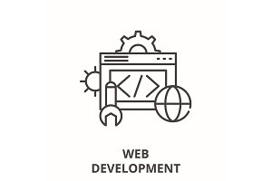 Web development line icon concept