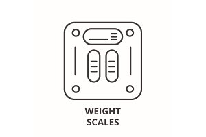 Weight scales line icon concept