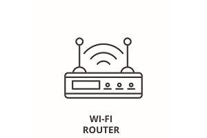 Wi-fi router line icon concept. Wi