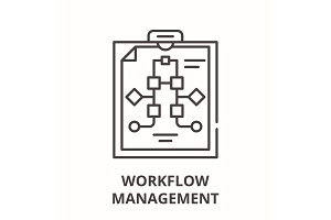 Workflow management line icon