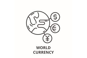 World currency line icon concept