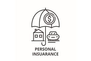 Personal insurance line icon concept