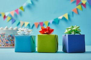Gift boxed on holiday background