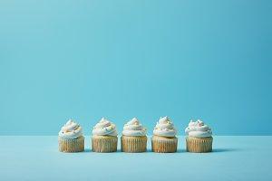 Delicious cupcakes with sugar sprink