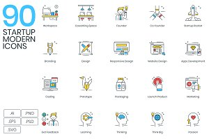 90 Modern Startup Icons