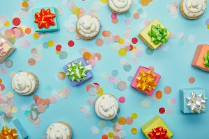 Confetti and holiday background