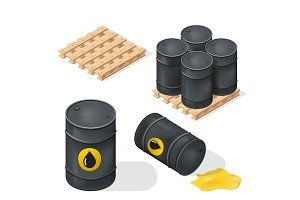Isometric Oil Barrels