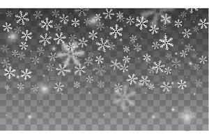 Snow and snowflakes background.