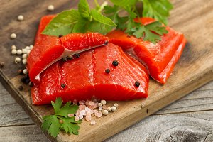 Bright Red Salmon Fillets