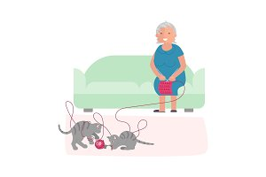 Old woman and cute gray kittens