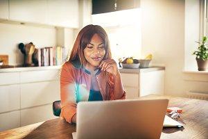 Successful female entrepreneur worki