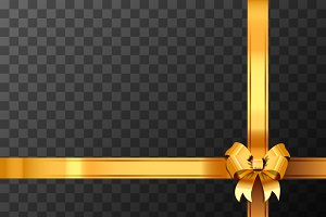 Golden bow-knot with ribbon