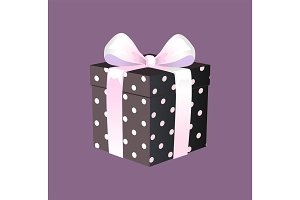 Gift Box with Ribbon and Bow, Vector