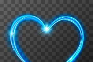 Neon blurry love symbol