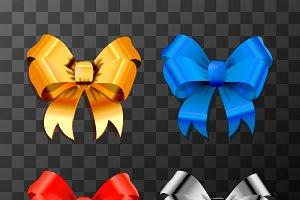 Set of different bright bow-knots
