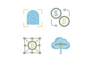 Bitcoin cryptocurrency color icons