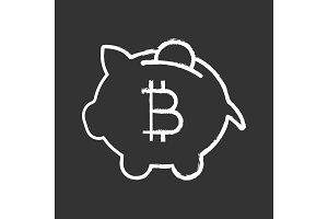 Bitcoin deposit chalk icon