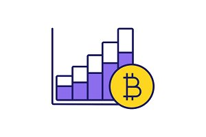 Bitcoin market growth chart icon