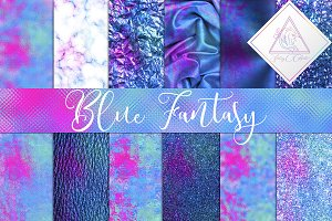 Blue Fantasy Digital Paper